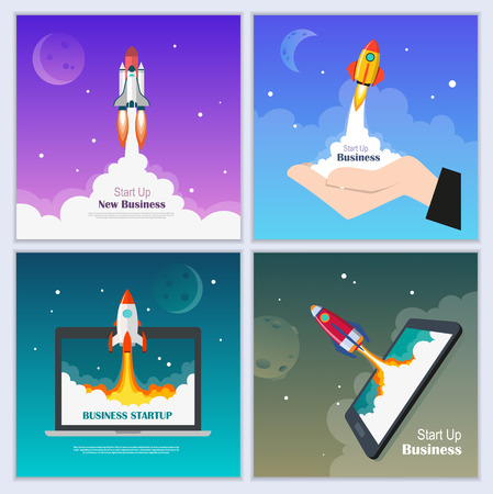 Startup Business concept with flying rocket. Business banner template set. Development and advanced project. Vector illustration.  イラスト・ベクター素材