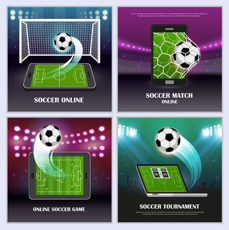 Online soccer game tournament concept with a playing field, ball, smartphone and other mobile devices. Sport banners templates set. Vector illustration.