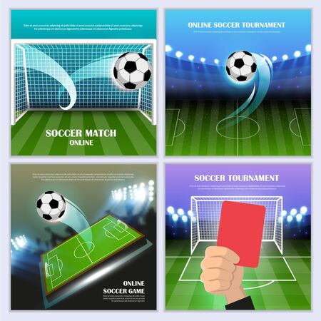 Online soccer tournament concept with a playing field, ball and other sports equipment. Sport banners templates set. Vector illustration.  イラスト・ベクター素材