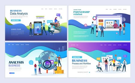 Landing pages template set for business, finance, data analysis and marketing. Modern flat design concept. Web page design for website and mobile website. Flat vector illustration.