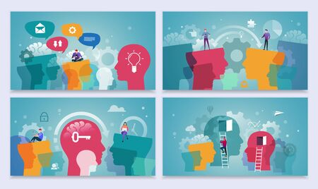 Idea  generation and startup business concept. Abstract human head with gears and people. Landing Page Template. Flat Style Vector Illustration  イラスト・ベクター素材