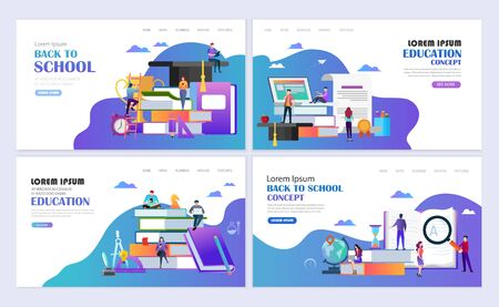 Set of templates web page design. Back to school concept. Education, online education, e-learning modern flat design concept. Web page design for website and mobile website. Vector illustration.