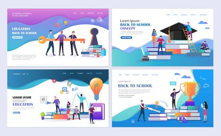 Set of templates web page design. People with books. Education, online education,  back to school modern flat design concept. Web page design for website and mobile website. Vector illustration.  イラスト・ベクター素材