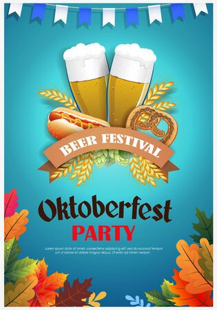 Promotional flyer template for Oktoberfest event or festival with wheat ears, sausage, pretzel and beer glasses on blue background