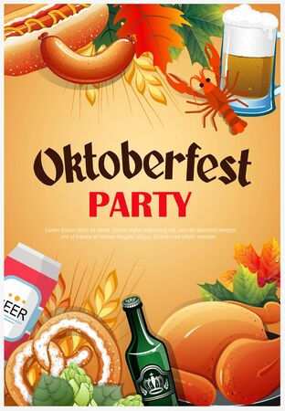 Promotional flyer template for Oktoberfest event or festival with wheat ears, mug of beer, sausage, pretzel, lobster and other snacks on yellow background