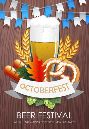 Promotional flyer template for Oktoberfest event or festival with wheat ears, sausage, pretzel and glass of beer on wooden background
