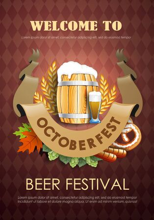 Promotional flyer template for Oktoberfest event or festival with wheat ears, barrel and a glass of beer  イラスト・ベクター素材