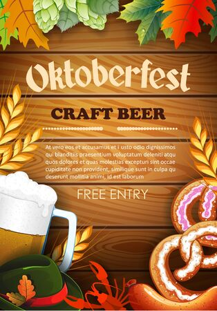 Promotional flyer template for Oktoberfest event or festival with with a glass of beer, pretzel, sausage, Tyrolean hat on wooden background