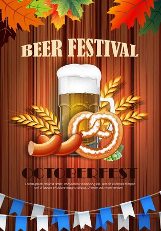 Promotional flyer template for Oktoberfest event or festival with wheat ears, sausage, pretzel and mug of beer on wooden background  イラスト・ベクター素材