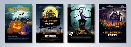 Set of Halloween Party Flyer Templates with scary night landscapes, pumpkins, graves and other halloween attributes for club, event, party or other advertising purposes. Seasonal party posters. Vector  イラスト・ベクター素材