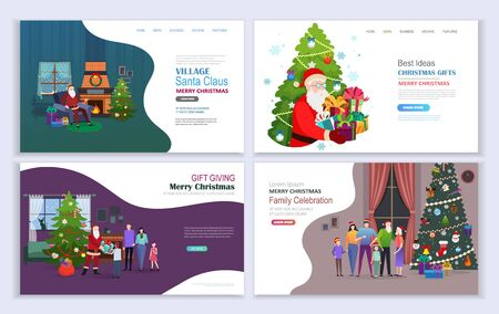 Santa Claus Giving Presents. Merry Christmas family holidays. Landing pages template.  Flat vector illustration