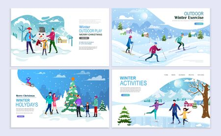 Family Winter Activity Holidays. Skiing, ice skating, walking, making a snowman. Landing pages template.  Flat vector illustration