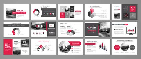 Red abstract presentation slide templates. Infographic elements template  set for web, print, annual report brochure, business flyer leaflet marketing and advertising template. Vector Illustration