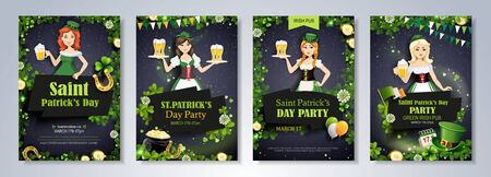 Beautiful leprechaun girls with beer mugs on black background. Saint Patrick's Day party flyer, brochure, holiday invitation, corporate celebration.  Vector illustration.