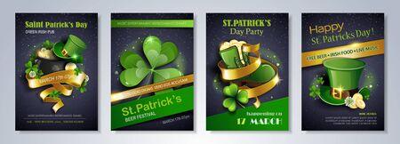 Saint Patrick's Day party flyer, brochure, holiday invitation. leprechaun hat, shamrock, pot with gold coins, shoe on black background. Vector illustration. Иллюстрация