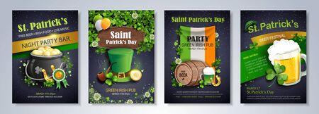 Saint Patrick's Day party flyer, brochure, holiday invitation. leprechaun hat, shamrock, pot with gold coins, horseshoe, ale on black background. Vector illustration. Иллюстрация