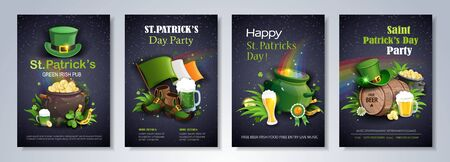 Saint Patrick's Day party flyer brochure with leprechaun hat, shamrock, pot with gold coins, ale on black background. Vector illustration.
