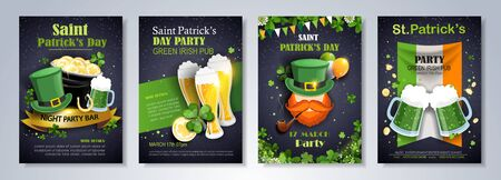 St. Patrick's Day Traditions and Symbols party flyer, brochure. leprechaun, hat, shamrock, pot with gold, ale on black background. Vector illustration.