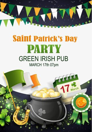 Pot with gold coins, flag of Ireland, clover, horseshoe and clover on black background. Saint Patrick's Day party holiday flyer. Vector illustration. Иллюстрация
