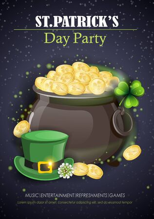 Pot with gold coins, Leprechaun hat and clover on black background. Saint Patrick's Day party holiday flyer. Vector illustration.