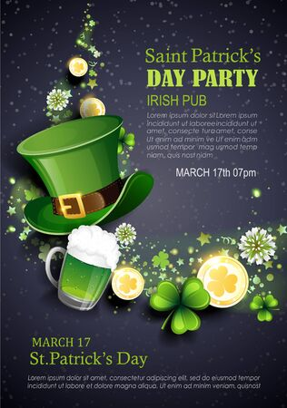 Leprechaun hat, clover, gold coins and green ale on black background. St. Patrick's Day party holiday flyer. Vector illustration. Иллюстрация