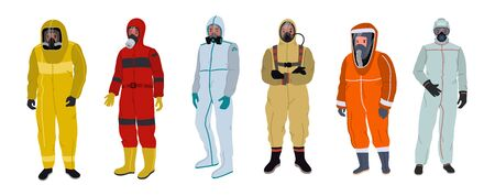 People in protective clothing with antiviral face masks and respirators. Vector illustration isolated on white background.