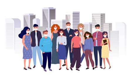 Group of people with antiviral face masks on the background of the big city. Virus protection concept vector illustration. Иллюстрация