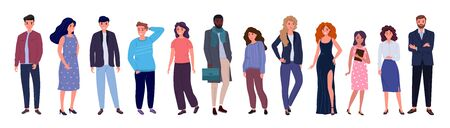 Group of young people of different races and cultures isolated on a white background. Flat cartoon characters set. Vector illustration.