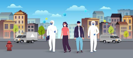 Medics in protective suits help people in face masks on the streets of the city. Epidemic coronavirus covid-19 concept. Flat style city landscape.