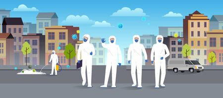 Group of specialists in protective suits disinfecting, cleaning and prevention coronavirus epidemic. Epidemic coronavirus covid-19 concept. Flat style city landscape.