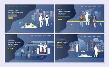 Scientist in hazmat suit disinfecting, cleaning and prevention coronavirus epidemic. Covid -19 wuhan pandemic concept Landing Page. Иллюстрация