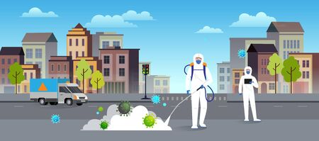 Scientists in hazmat suits cleaning and disinfecting streets of the city. Epidemic coronavirus covid-19 concept. Flat style city landscape. Иллюстрация