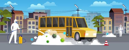 Specialists in hazmat suits clean and disinfect the car on the city street. Pandemic coronavirus covid-19 concept. Flat style city landscape. Иллюстрация