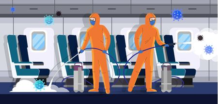 Specialists in protective suits clean and disinfect the airplane from coronavirus infection. Health risk concept flat vector illustration