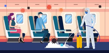 Medical worker in protective suit clean and disinfect the airplane with passengers from coronavirus infection. Health risk concept flat vector illustration