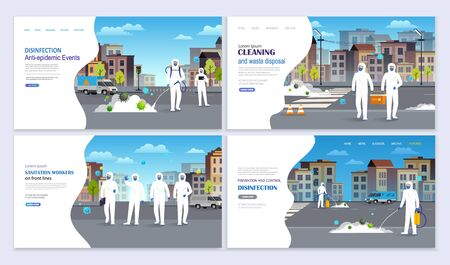Medical workers in hazmat suits disinfecting, cleaning and prevention city street from coronavirus infection. Covid -19 pandemic concept Landing Page. Иллюстрация