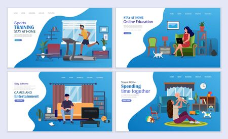 Sports workouts, online education, games and entertainment on self-isolation during coronavirus. Stay at home vector illustration concept. Landing page template. Иллюстрация