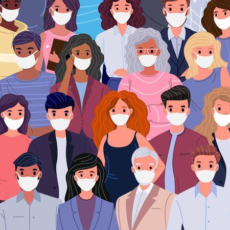 Coronavirus covid-19 pandemic. Group of people of different nationalities in white medical face masks.  Coronavirus quarantine vector illustration concept