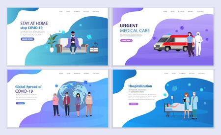 Doctors help infected people. Medical care for infection with coronavirus covid-19. Vector illustration landing page template.