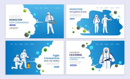 Medical workers in hazmat suits disinfecting, cleaning and prevention coronavirus epidemic. Covid -19 pandemic concept Landing Page.