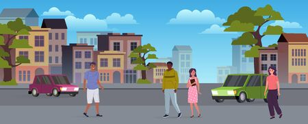 People and vehicles on the city streets. Urban scene. City life concept. Vector illustration