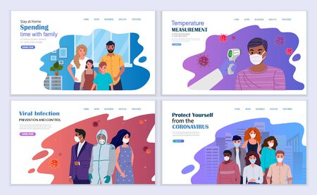 Use of personal protective equipment, wearing medical masks, temperature measurement, self-isolation. People protect themselves from coronavirus infection. Vector illustration landing page template. 矢量图像