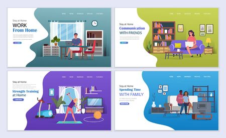 Sports workouts, online education, games and entertainment on self-isolation during coronavirus. Stay at home vector illustration concept. Landing page template. Vectores
