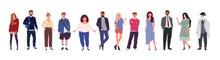 Group of people of different ages, nationalities, ethnicities, isolated on a white background. Flat cartoon characters set. Vector illustration.
