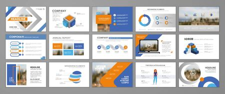 Blue and orange abstract presentation slide templates. Infographic elements template  set for web, print, annual report brochure, business flyer leaflet marketing and advertising template. Vector Illustration