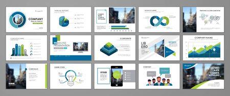 Presentation templates design. Vector templates portfolio with blue and green elements. Multipurpose template for brochure cover, annual report, advertising, presentation slide, flyer leaflet. Ilustración de vector