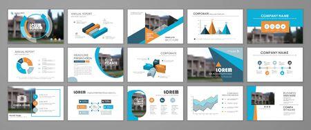 Presentation slide layout background.  Blue and orange design brochure template. Use in presentation, flyer, leaflet, banner, corporate report, annual report, marketing, advertising.