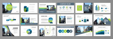 Blue and green abstract presentation slide templates. Infographic elements template set for web, print, annual report brochure, business flyer leaflet marketing and advertising template. Vector illustration