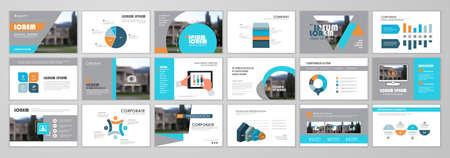 Minimal presentation slide design, Blue and orange Design template. Use for business annual report, flyer, marketing, leaflet, advertising, brochure template