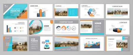 Presentation templates design. Vector templates portfolio with blue and orange elements. Multipurpose template for brochure cover, annual report, advertising, presentation slide, flyer leaflet.